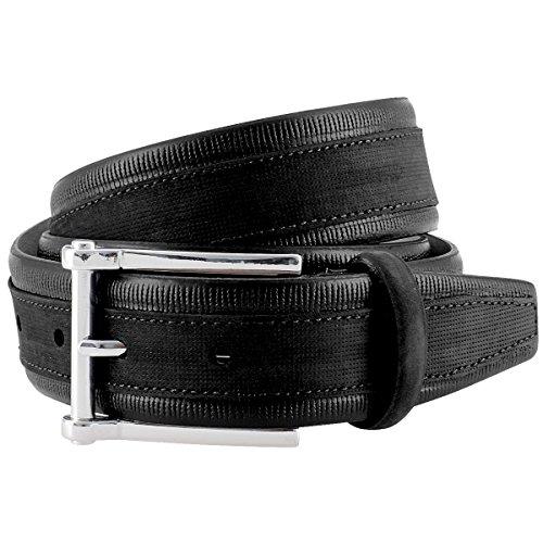 1A! LINDENMANN G.CHABROLLE Mens Leather Belt/Mens Belt, full grain leather belt curved, black, Größe/Size:100, Farbe/Color:noir