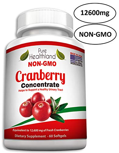 NON GMO Cranberry Concentrate Supplement Pills For Urinary Tract Infection UTI. Equals 12600mg Cranberries. TRIPLE STRENGTH Promote Kidney Bladder Health For Men And Women, Easy To Swallow Softgels