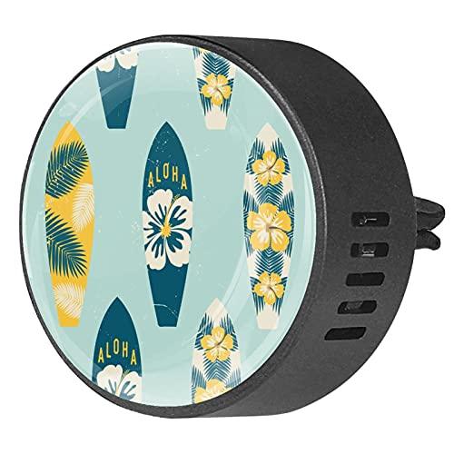 Difusor de aromaterapia para coche,tabla de surf ,Clip de ventilación de desodorante de área redonda 2PCS Aceite esencial para difusor de automóvil