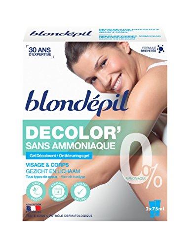 Blondépil Décolore sans Ammoniaque Gel Décolorant Visage/Corps Tous Types de Peaux 2 x 75 ml