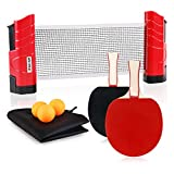 XGEAR Anywhere Ping Pong Equipment to-Go Includes Retractable Net Post, 2 Ping Pong Paddles, 3 pcs Balls,...