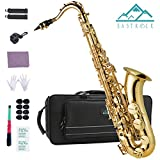 EASTROCK Tenor Saxophone B Flat with Hard Case,Mouthpiece,8PCS Mouthpiece Cushion Pads,Reed,Cleaning Cloth&Rod,2PCS Alcohol Pads,Strap (Gold Laquer) for Beginners Students Intermediate Players