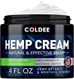Coldee Pain Relief Hemp Oil Cream - 4oz - Made in USA - Natural Hemp Extract for Arthritis, Knee, Joint & Back Pain - Max Strength & Efficiency