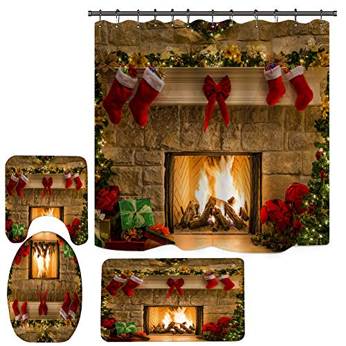 4PCS Christmas Shower Curtain Sets, Bathroom Shower Curtain Sets with Rugs, Toilet Lid Cover and Bath Mat, Halloween Xmas Shower Curtain with 12 Hooks (71 Inch x 71 Inch)
