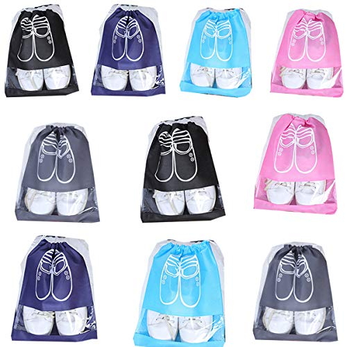 Bolsas de zapatos de viaje, impermeables y a prueba de polvo, con ventana transparente para botas, tacón alto, sandalias, etc. (10 unidades)