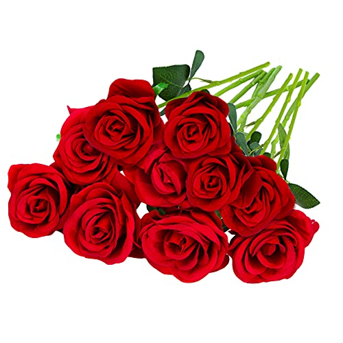 Attmu Roses Artificial Flowers 10 Pcs Fake Roses for Decoration, Bouquet of Silk Flowers with Stems for DIY for Wedding Party Home Decor Gift