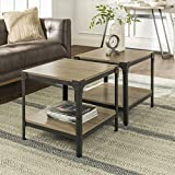 Walker Edison Declan Declan Urban Industrial Angle Iron and Wood Accent Tables, Set of 2, Driftwood