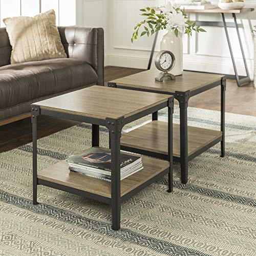 Walker Edison Furniture Company Rustic Farmhouse Square Wood and Metal Frame Side End Accent Table...