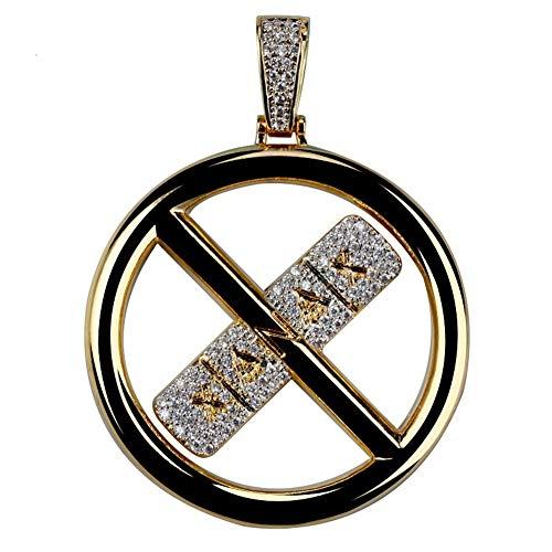 LILIMO Gold Iced Out Pill-Anhänger-Halskette Mikro Pflastern CZ-Stein Hip Hop Schmuck Für Männer Frauen 60Cm Seil Kette