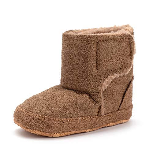 Baby Premium Anti-Slip Mid Calf Warm Winter Infant Prewalker Toddler Snow Boots Brown