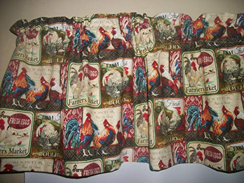 French Country Rooster Chicken Patchwork Farmhouse curtain topper Valance