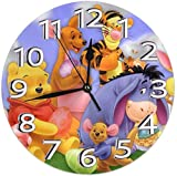Wall Clock Silent Non Ticking - Winnie Pooh with Friends Battery Operated Round Easy to Read Home/Office/Classroom/School Clock 20x0.5 Cm New Year 2021