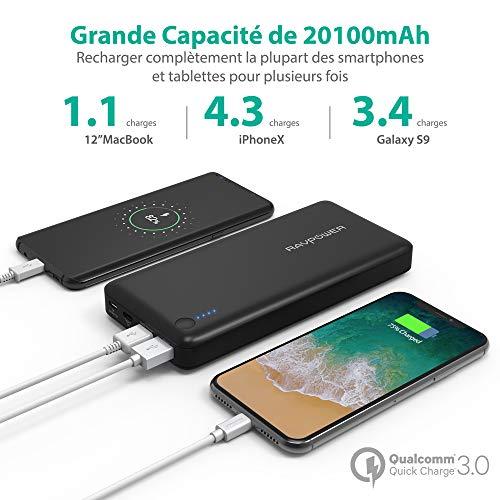 Ravpower Tragbares Ladegerät 20100 mAh mit USB-Ausgang Quick Charge 3.0 und USB-C-Ausgang, externer Akku kompatibel mit Nintendo Switch, iPhone XS/X, Galaxy S9/Note 9, LG G6/G5, etc.