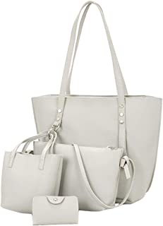 Womens Leather Bag, 4pcs Shoulder Messenger Bag Shopping Daily Handbag Wallet Coin Purse Satchels Card Package
