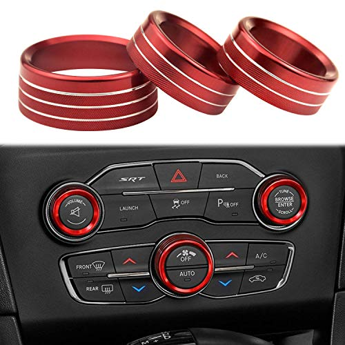 for Dodge Accessories Interior Audio Aluminum Alloy Air Conditioner Switch CD Button Knob Compatible with Dodge Challenger Charger Chrysler 300 300s 2015-2020