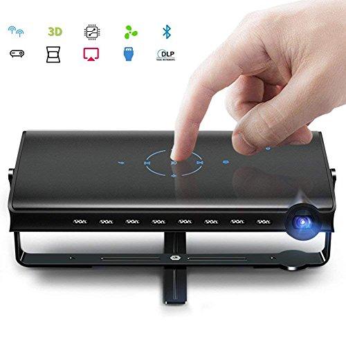 DLP Mini Proiettore Portatile Pico Video Proiettore Keystone Correzione DLNA HDMI 1080P Wifi USB TF Card Supporto per iPhone Android Mac Windows, Home Office Esterno