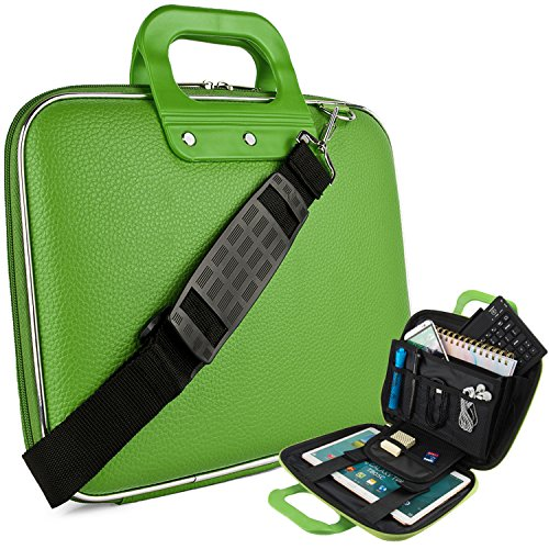eBigValue Vegan Leather Melvin Cube Carrying Green (Medium) Shoulder Bag with Handles for University Collage High School, Elementary, Middle School