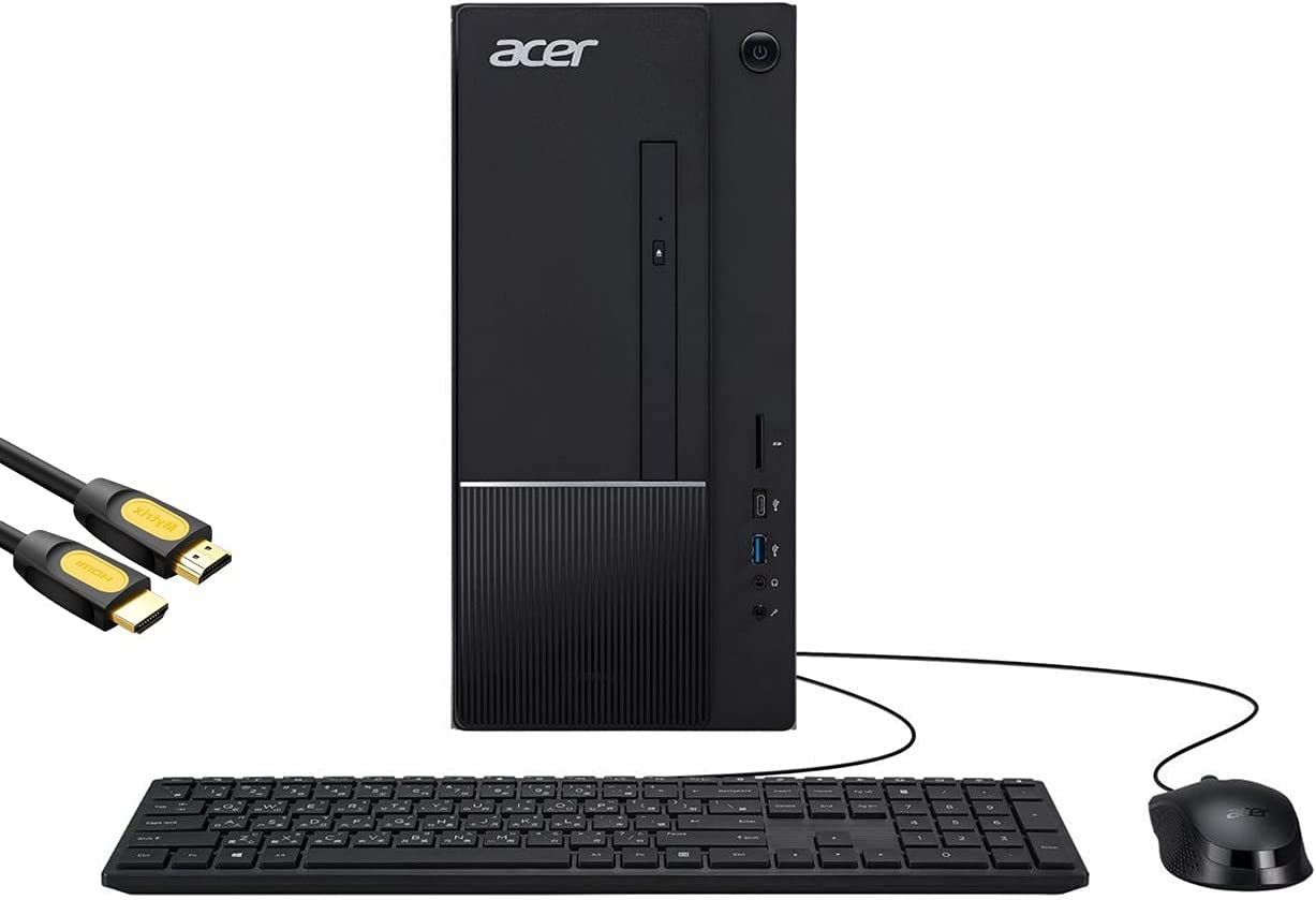 Mytrix Aspire TC by_Acer Business Desktop, Intel 6-Core i5-10400, 32GB DDR4 RAM, 1TB PCIe SSD+1TB HDD, USB-C, DVD, RJ-45, Wi-Fi 6, HDMI, Mytrix HDMI Cable, Win 10