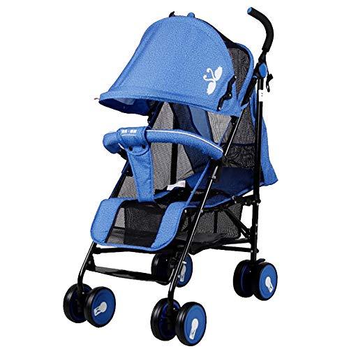 SSRS Baby Sunshade Iightweight Opvouwbare All-Terrain Ademende Five-Point Seat Riem Reissysteem Unisex Draagbare Reclining Sun Shade Buggy (Navy Blue)