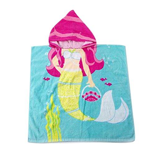 Gagacity Unisex Bambini Teli da Poncho da Bagno con Cappuccio,Coperta Morbida Cotone di Balneazione Wrap Vestaglia per 1-6 Anni/Sirena