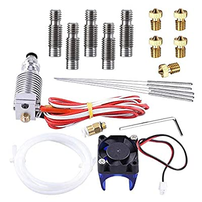V6 Hot End Full Kit, MYSWEETY 3D Printer J-head Hotend with Fan + 5 Pcs Extruder Brass Print Head + 5 Pcs Stainless Steel Nozzle Throat for 3D Printers