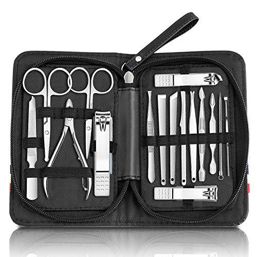 Wodasi Manicure Set, Kit de Manicura y Pedicura 16 en 1, Set de Manicura Profesional Completo, Profesional Cortaúñas Acero Inoxidable Grooming Kit para Viajar, Podadoras de Uñas Set