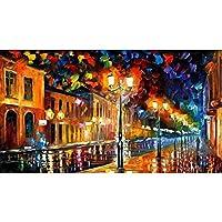 DIYデジタル絵画、アダルトキャンバス油絵セット、ブラシ付き、ペイント、アクリル絵の具-ストリートランプ(40X50Cm)(フレーム)