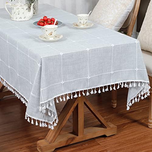 LUCKYHOUSEHOME - Mantel de lino y algodón, diseño de cuadros, bordado, borla para decoración de mesa para el hogar, cocina, comedor, mesa, Algodón y lino, gris claro, 39 x 55 Inch (100x140cm)