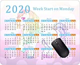 2020 Calendar Mouse pad Gaming Mouse pad Office Mousepad Nonslip Rubber Backing-Cute Kawaii Rainbow Colored Unicorn Pink Glitter Pony My Little Pony