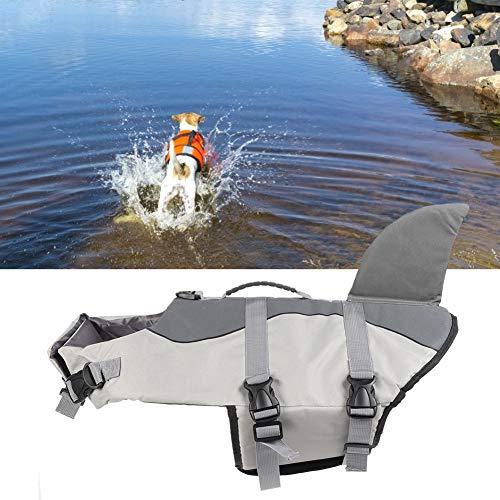 Waterdicht canvas zwemvest voor honden, gemakkelijk te dragen veiligheidsvest voor huisdieren, grappig comfortabel voor grote huisdieren voor grote(JSY03 gray, M)