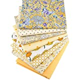 Hanjunzhao Yellow Floral Polka Dot Solid Fat Quarters Fabric Bundles 18 x 22 inch for Sewing Quilting Crafting