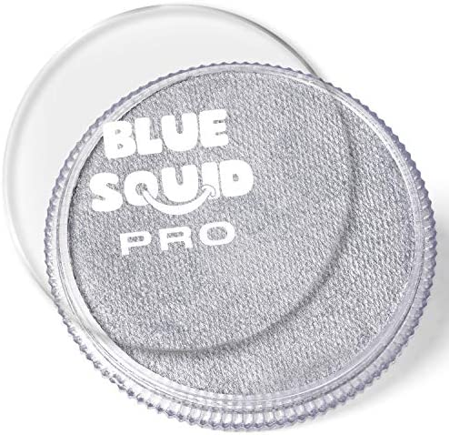 Blue Squid PRO Face Paint Metallic Silver 30gm Quality Professional Water Based Single Cake product image