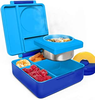 OmieBox Bento Box for Kids - Insulated Bento Lunch Box with Leak Proof Thermos Food Jar - 3 Compartments, Two Temperature Zones - (Blue Sky) (Single)