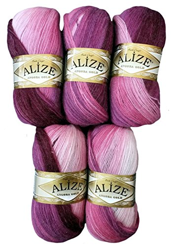 Alize 5 x 100 g Strickwolle Mehrfarbig mit Farbverlauf, 500 Gramm Strickgarn mit 20% Wolle-Anteil (Beere lila rosa 1895)