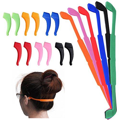 6pezzi antiscivolo in silicone occhiali cinghie con 6paia orecchio grip ganci, Senhai morbido occhiali fermo supporto occhiali per bambini adulti sport–nero, rosso, arancione, rosa, blu, verde