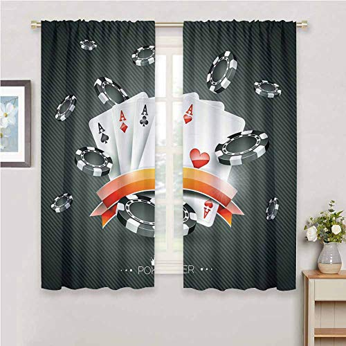 Poker Tournament Decorations Bedroom Curtain Living Room Decor Blackout Shades W63x45L Artistic Display Spread Chips with Poker Cards Lifestyle Black White Red