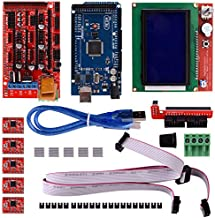 Aokin 3D Printer Controller Kit for Arduino RepRap, RAMPS 1.4 + Mega 2560 Board + 5pcs A4988 Stepper Motor Driver with Heatsink + LCD 12864 Graphic Smart Display with Adapter