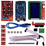 Aokin 3D Printer Controller Kit for Arduino RepRap, RAMPS 1.4 + 2560 Board + 5pcs A4988 Stepper Motor Driver with Heatsink + LCD 12864 Graphic Smart Display with Adapter