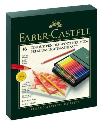 Faber-Castell Set di matite colorate Polychromos per artisti, in 24colori, con custodia in metallo, codice: 110024, Einzeln, 36er Atelierbox, 1