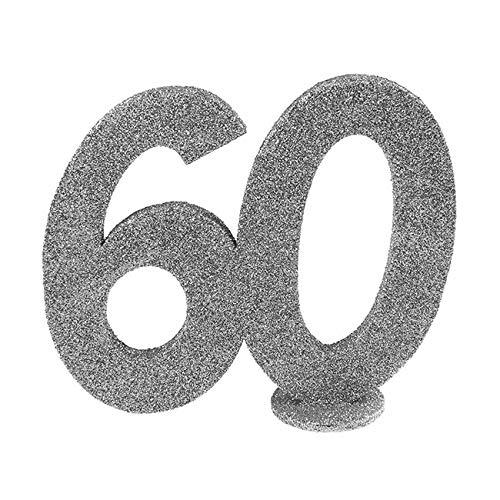 Santex 4752-60, Deko-Zahl, vertikal, für Geburtstag, 60Jahre, silberfarben