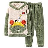 Conjunto de pijama para hombre, 2 piezas, para otoño e invierno, manga larga, coral, camisón femenino, verde, XXL