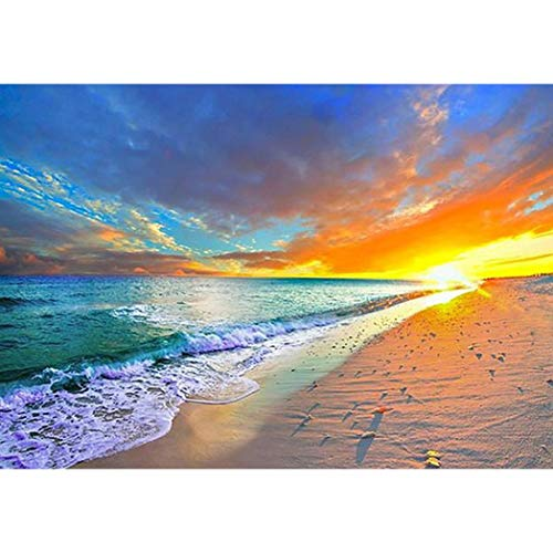 5D Diamond Painting Kits for Adults Kids Full Drill Diamond Embroidery Dotz Art Craft for Home Wall Decor Sunset Beach Sea