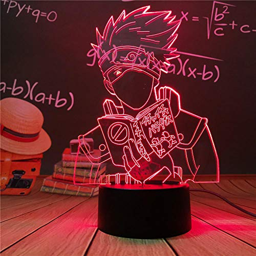 Luz nocturna 3D Naruto Uzumaki Anime Led Luz nocturna Equipo 7 Sasuke Kakashi Hatake Niños Dormitorio Luz nocturna Itachi Uchiha Lámpara 3D Niño Regalo de Navidad ZGLQ