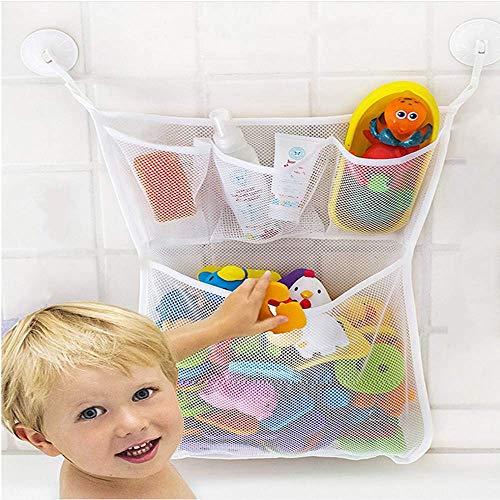 Bad Spielzeug Organizer Badewannen Spielzeug Aufbewahrungsnetz verhindert Schimmel an Spielzeugen Mesh Tasche waschbar Shampoo Dusche Net Organize mit 2 Saugnäpfe (Weiß)