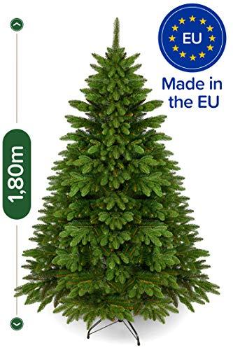 Weihnachtsbaum künstlich 180 cm – Edle Nordmanntanne mit Weihnachtsbaumständer – Künstlicher Premium Tannenbaum mit besonders dichten Zweigen – Exklusives Markenprodukt - Naturgetreu, Made in EU