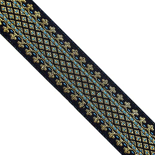 Jacquard Metallic Gold/Green, Black, JL 316, Width : 1-5/8'' (40mm), 5 Yards