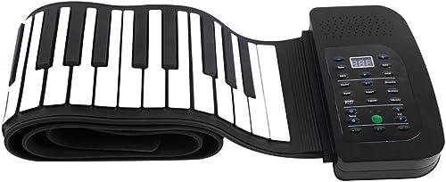WMING Hand-Roll-Klavier-Klaviertastatur tragbare 88 Tasten-Key-Kasten-Klavier Silikon elastisches faltbares Klavier mit Batterie Sustain Pedal für Anf er