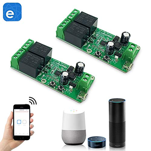 2 Kanal Sonoff Smart Wifi Schalter Wlan Relais Modul, Momentary Inching/selbstverriegelung Schaltermodul, DC 5-32V Wifi Taster Relais mit Garagentor Steuerung Kompatibel mit Alexa Ewelink APP 2 Packs