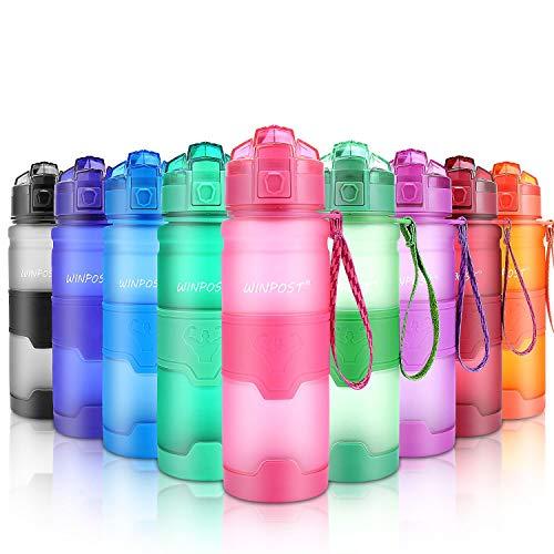 Botella de Agua Deporte 500ml/700ml/1l, sin bpa tritan plastico, Reutilizables a Prueba de Fugas Botellas Potable con Filtro para niños, Colegio, Sport, Gimnasio, Trekking, Bicicleta (Pink, 380ml)
