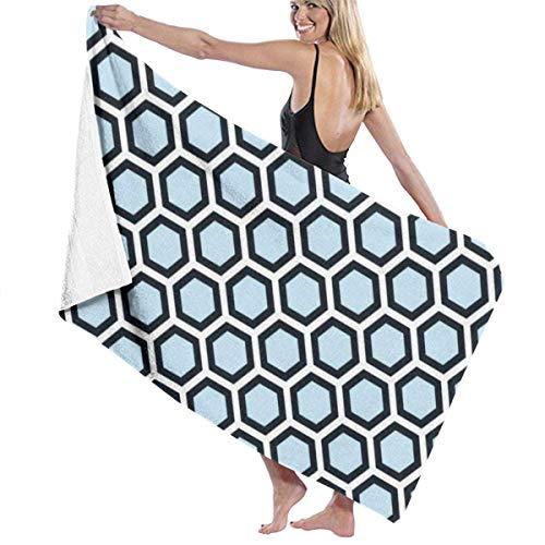 Yaxinduobao Honeycomb Pattern Blue Black White Soft Toalla de baño Highly Absorbent Multipurpose Towels Oversized Toalla de Playa for Travel Bathroom Hotel Gym SPA 31'x 51'